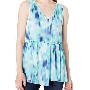 Ellen Tracy sleeveless tie waist multi blue blouse